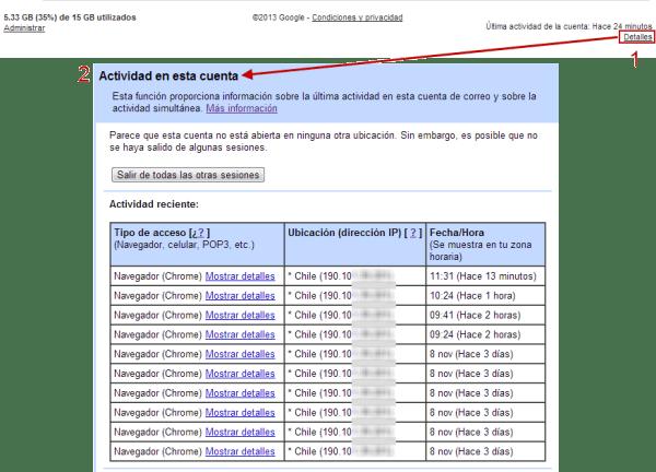 Actividad de cuenta de Gmail