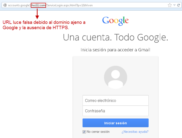 Sitio phishing Gmail