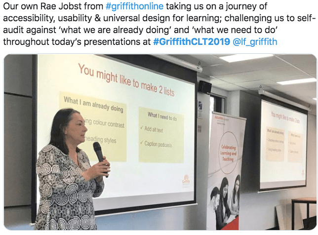 Rae Jobst presenting Access:Go for it at Celebrating Learning & Teaching 2019