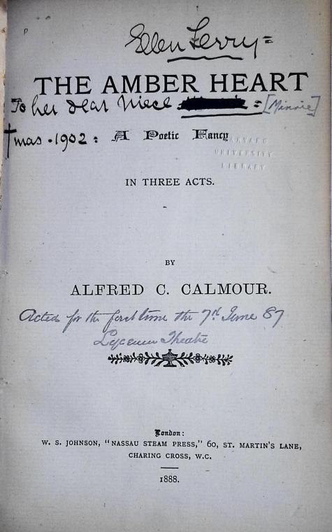 Ellen Terry's inscription in Minnie's copy of the play