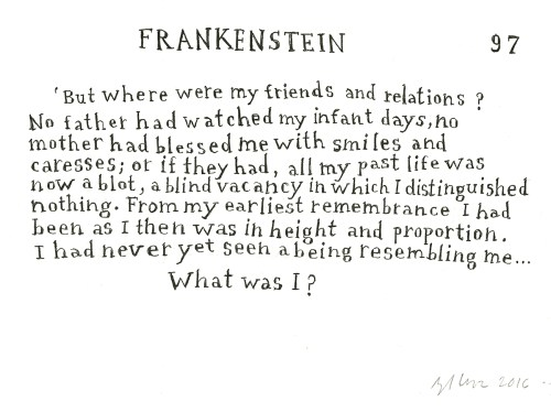 drawing of the text ofFrankenstein by Angela Lorenz