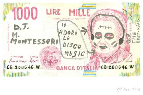 watercolor of a graffitied bank note by Angela Lorenz