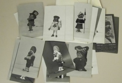 Photographs from the Florence Milner papers on Lewis Carroll that had been in a small envelope before Jaret put them into protective sleeves.