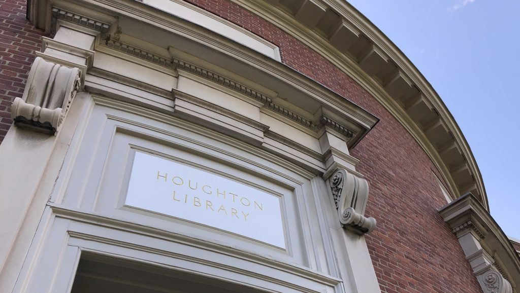 An image of the front of Houghton Library, just above the entrance.