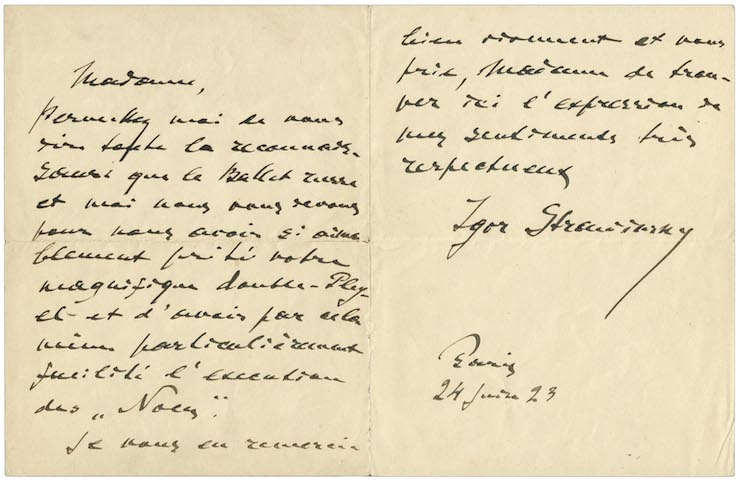 A handwritten letter from Igor Stravinsky to Martine de Béhague in French, signed by the composer and written in Paris, 24 June 1923.