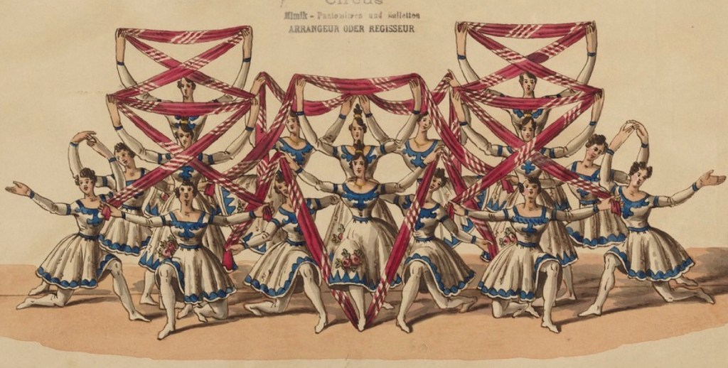 Dancers arrayed with red cloths interlaced among them