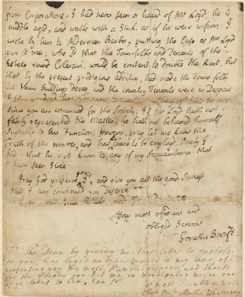 Jonathan Swift autograph letter