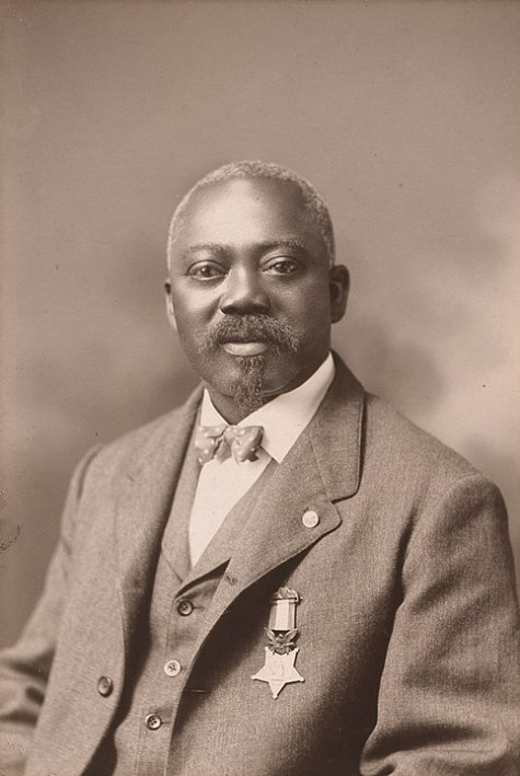 William Harvey Carney wearing his Medal of Honor.