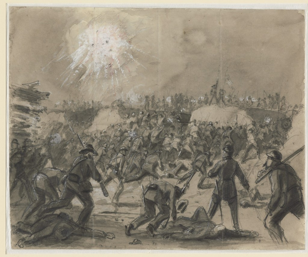 Union soldiers storm Fort Wagner.