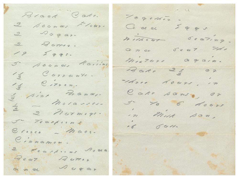 "Recipe for ""black cake"" handwritten by Emily Dickinson."