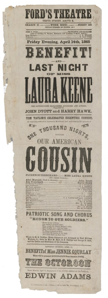 """A playbill for Our American Cousin, with the """"Patriotic Song and Chorus"""" added."""