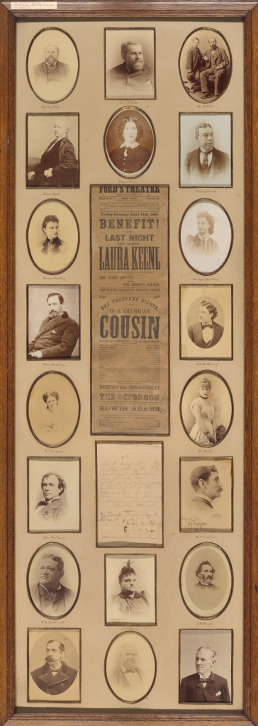 """A collage of materials from production of """"Our American Cousin,"""" with photo portraits and playbill."""