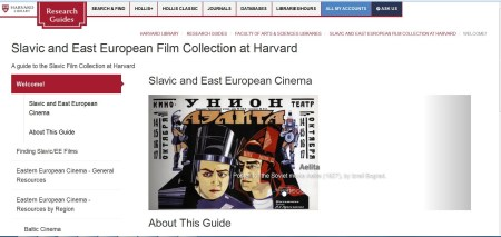 Slavic Film at Harvard LibGuide front page