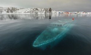 The sunken yacht Mar Sem Fin in Ardley Bay, Antarctica. Photograph by Ruslan Eliseev.