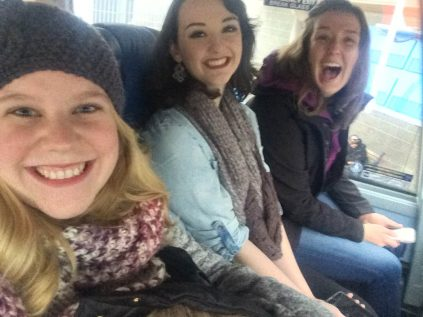 Me, Emily, and Jordan on the bus to Cruden Bay!