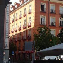 An interesting orange building near Puerta del Sol in Madrid.