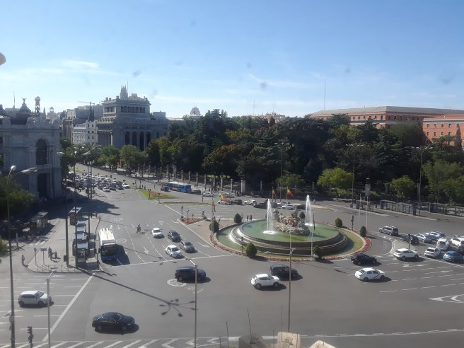View of Cibeles in Madrid taken from the town hall building.