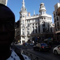 An interesting building near Puerta del Sol in Madrid