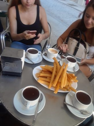 The famous churros and chocolate from Chocolateria de San Gines.