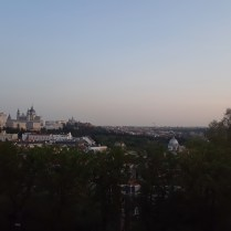A view of Madrid and its Catedral de La Almudena from a hill near the Debod temple.