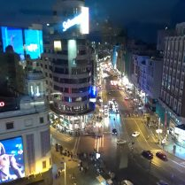 An over-head view of Callao, a section of Madrid's famous street, Gran Via.