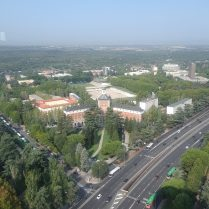 An aerial view of Madrid's Complutense University from the tower of Moncloa.