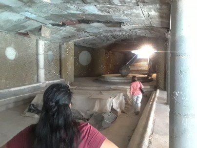 Passing through a large chamber underneath the cathedral