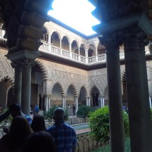 The beautiful inner plaza of the Alcazar de Sevilla in Seville.