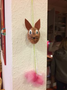 """One of the ladies made this Easter decoration from a """"blown out"""" egg."""