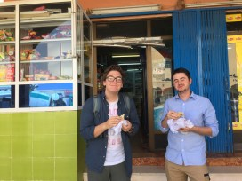 Danny and Ben having a snack at the shop near Arabic school