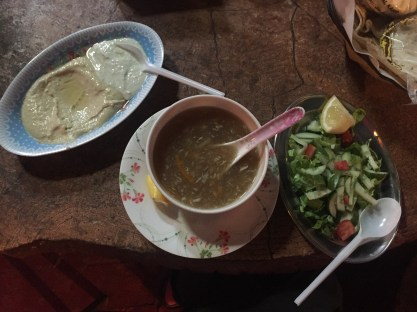 Start with hummus, salad and chicken soup