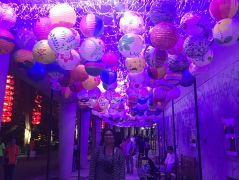 A glowing alley of handmade lanterns