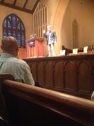 Dr. Douglas Rushkoff speaking in Dimnet Chapel at Hope College