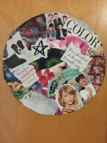 A record collage I made at an open and hung on my door!