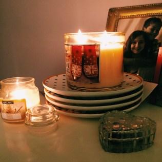 Candles burning at home