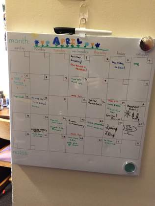 Ashley's dry-erase calendar she purchased