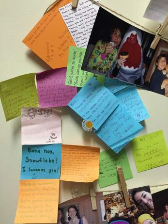 The post-it notes I have collected from friends over the last 8 months that now decorate my wall