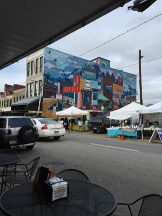 A snap shot of a mural in the Strip District