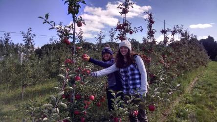 My friend Ashley's family just takes me in and lets me join them on family apple picking adventures and has us pose for pictures.