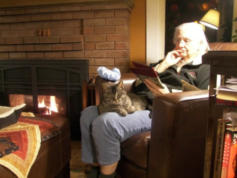Resting at home, with book, warm fire, and lap cat.
