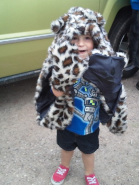 Enzo is a menacing leopard, waiting to depart yesterday for the picnic and hike.