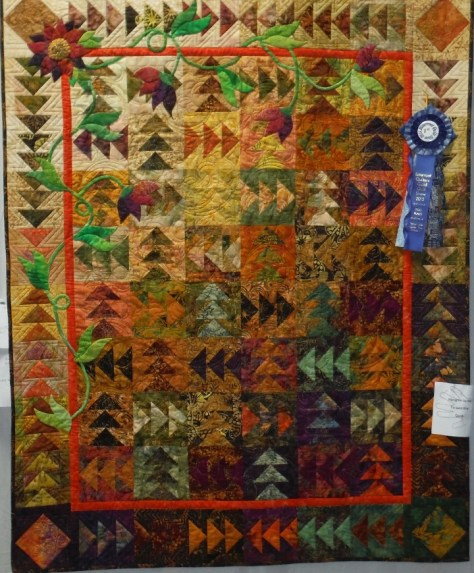 Connie's 80th Birthday quilt, made by the Bent Needlers.
