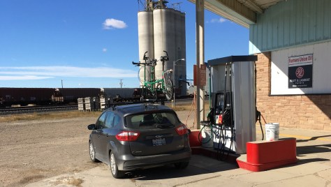 Fuel stop at a one-pump farm co-op in Rudyard, Montana, on the way home.