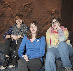 Paranormal Club treasurer Grace Howerton and members Brandon Nonprasit and Emily Clark held a meeting on April 20 at the Carlsen Center.  Photo by Anya Ivantseva