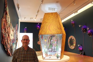 Mark Raduziner (Professor and Department Chair for Journalism and Media Communications) is the inspiration for an art exhibit. The exhibit is on display at the Nerman Museum.