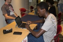 Senator Godfrey Kirui casts his vote for the Student Senate elections.