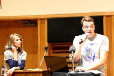 Rebecca Crockett (left) and Josh Morrow (right) of ECAV Radio moderated the event. Photo by Lance Martin.