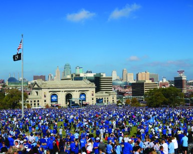 According to KCTV 5, an estimated 500,000 Royals fans were in attendance at Union Station for the World Series parade on Tuesday, Nov. 3. Other media outlets reported estimates as high as 800,000. Photo by Lance Martin.