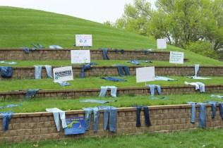 The Business and Marketing Entrepreneur Club also had their denim recycle being advertised on the hill in the courtyard. There are bins all around campus where you can put old denim that you don't want anymore, and the club will recycle them properly. Photo by: Jennifer Tharp, The Campus Ledger.
