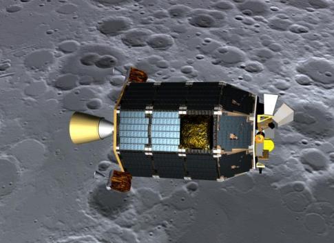 Concepto artístico del explorador  LADEE  visto orbitando cerca de la superficie de la luna. Crédito de la imagen: NASA Ames / Dana Berry